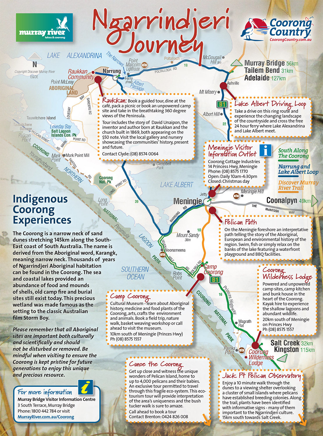 Ngarrindjeri Coorong Journey map - Coorong Country