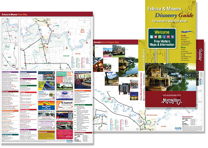 Echuca Moama town and Murray River map