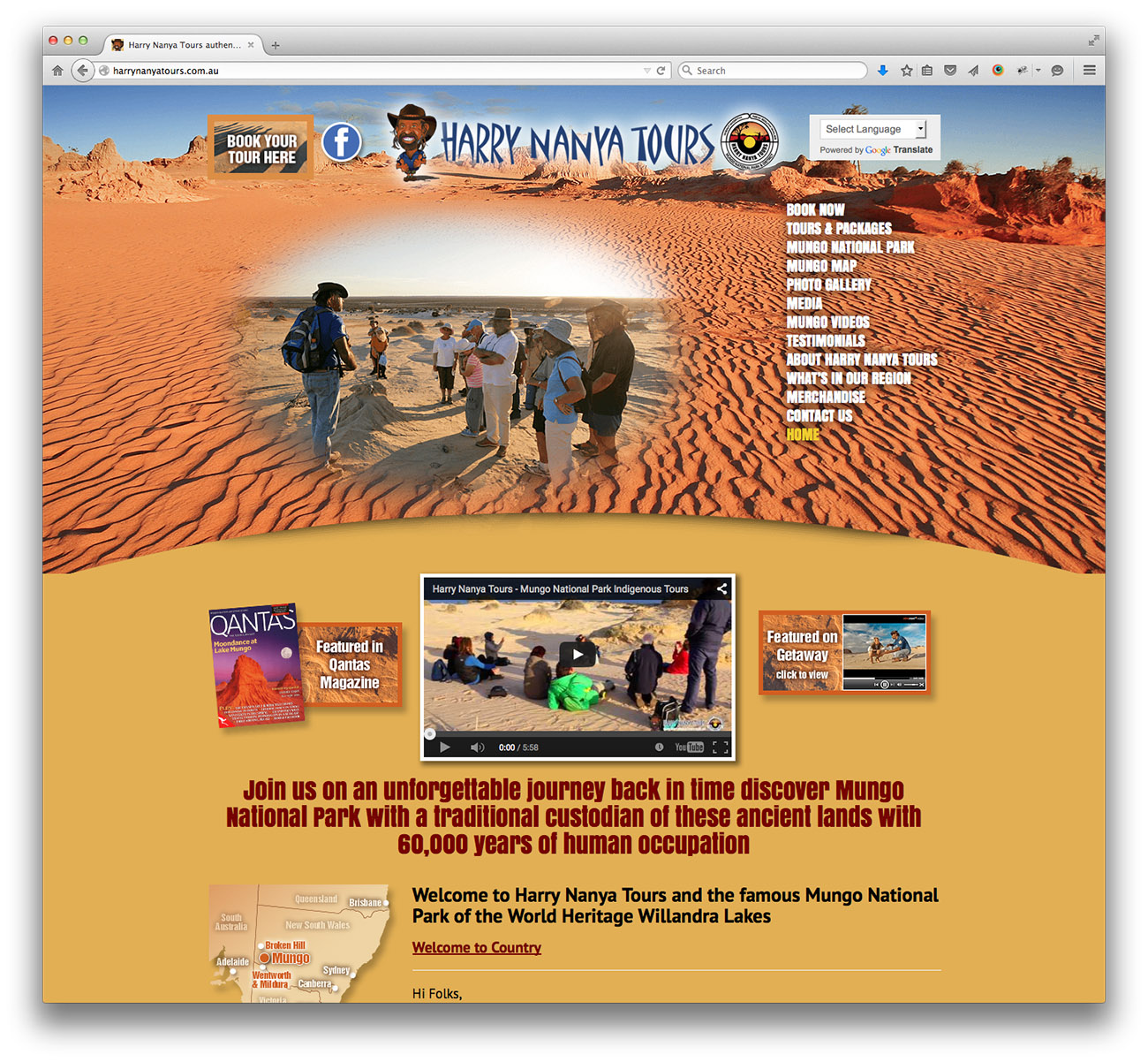 Harry Nanya Tours - Mungo National Park website