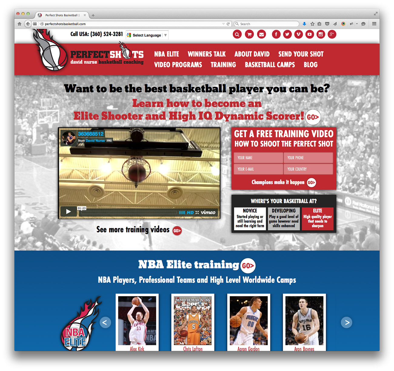 Perfect Shots Basketball homepage