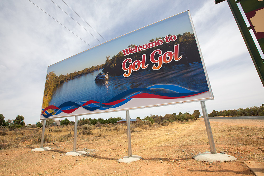 Wentworth Region Australia Murray Darling Heartland Gol Gol sign