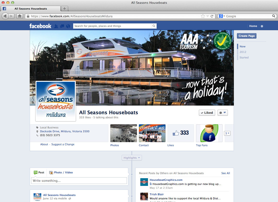 All Seasons Houseboat Facebook branding