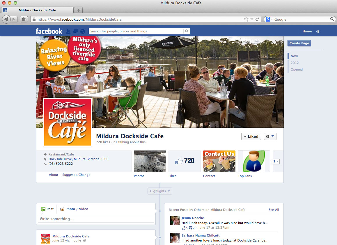 Mildura Dockside Cafe Facebook branding