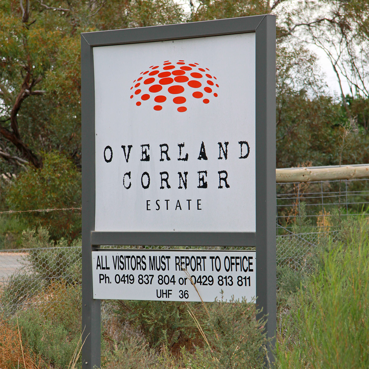 Overland Corner Estate sign