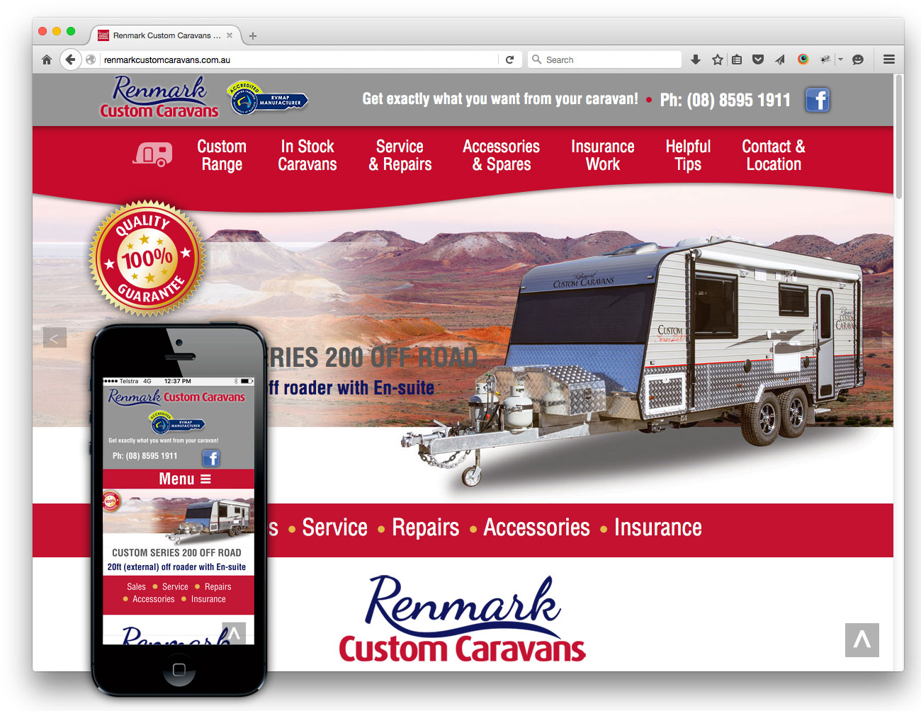Renmark Custom Caravans website