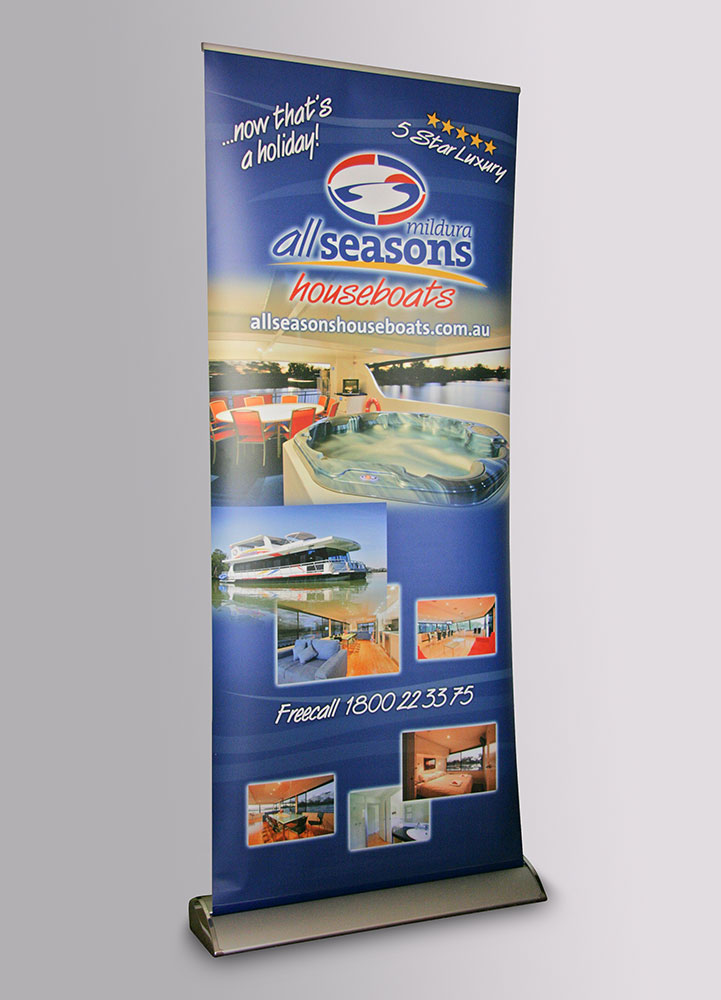 All Seasons Houseboats pull up banner