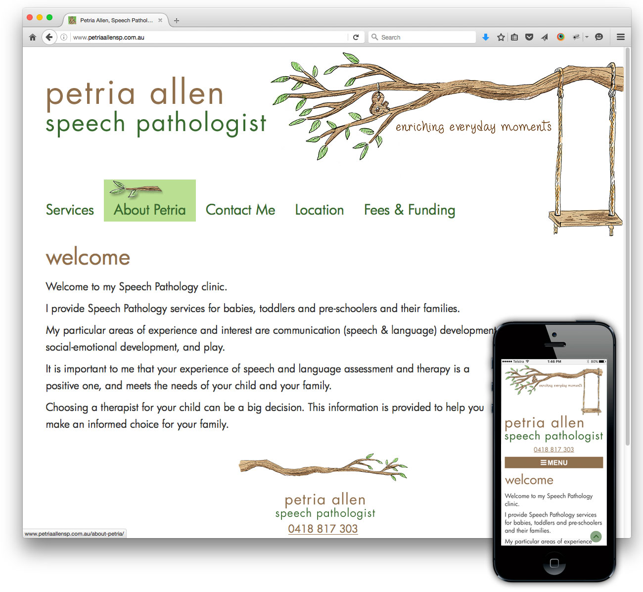 Petria Allen Speech Pathologist website