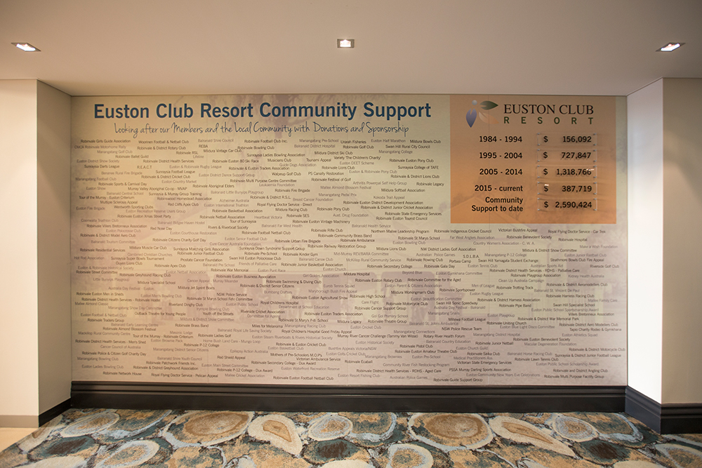 Euston Club Resort Community Support Wall display