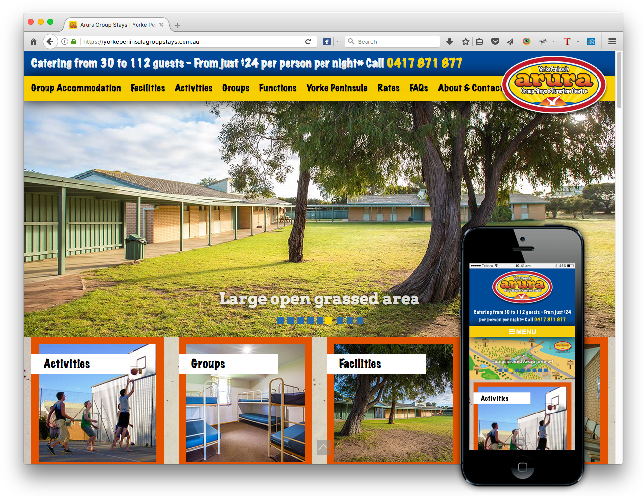 Yorke Peninsula Group Accommodation website