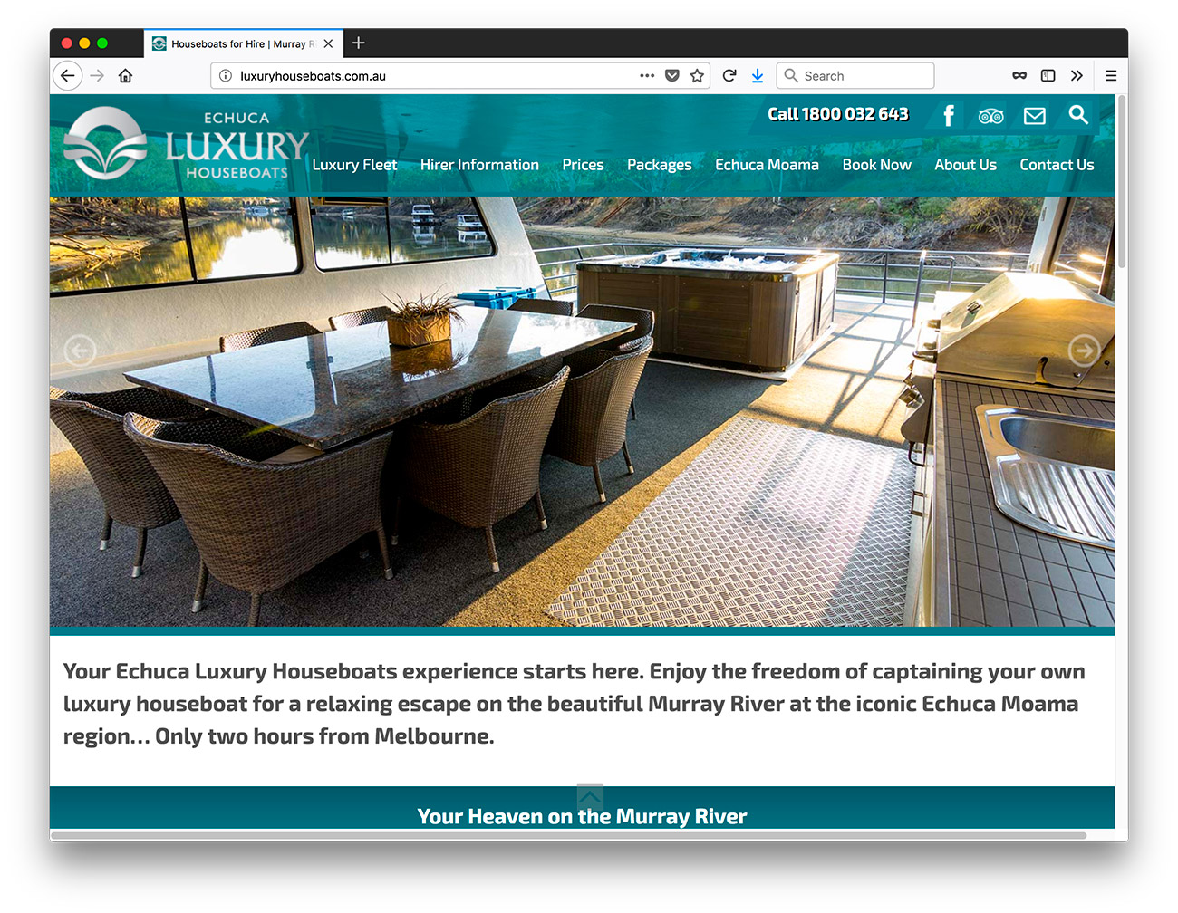 Echuca Luxury Houseboats website design