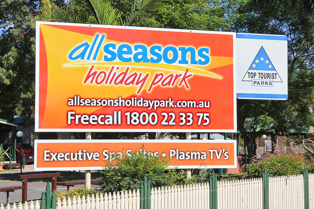 All Seasons Holiday Park Mildura sign